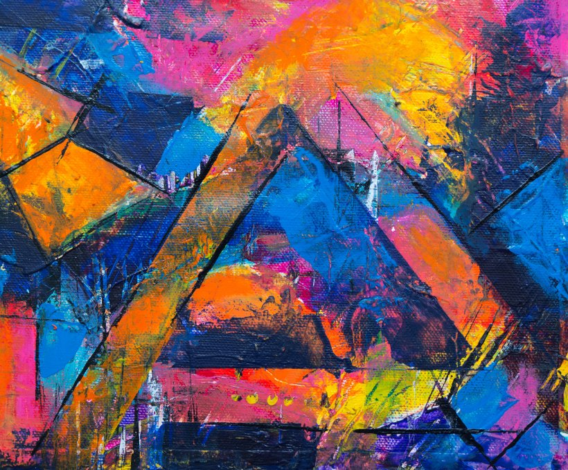 abstract painting with harsh black lines, filled in with bright colours: pink, blue and orange