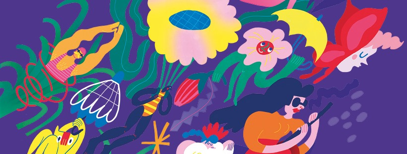 Bright illustrations featuring flowers, umbrellas, people in swimwear, etc.