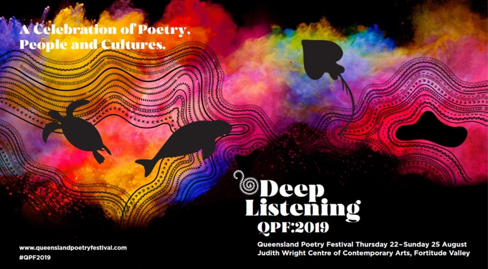 Colour image of animals swimming through coloured smoke, with the text: A Celebration of Poetry, People and Cultures. Deep Listening QPF2019