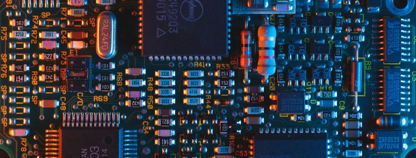 Ariel photo of a blue circuit board