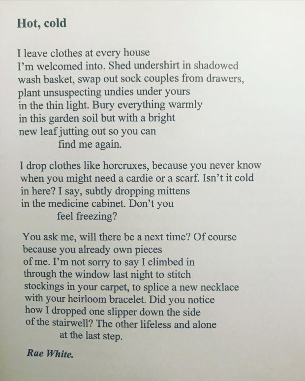Photo of the text of a poem called 'Hot, cold'
