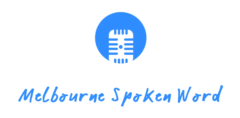 blue image of a microphone and the text 'melbourne spoken word'
