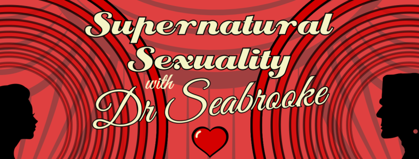 Red image with two silhouettes either side, and beige text reading 'Supernatural Sexuality with Dr Seabrooke'