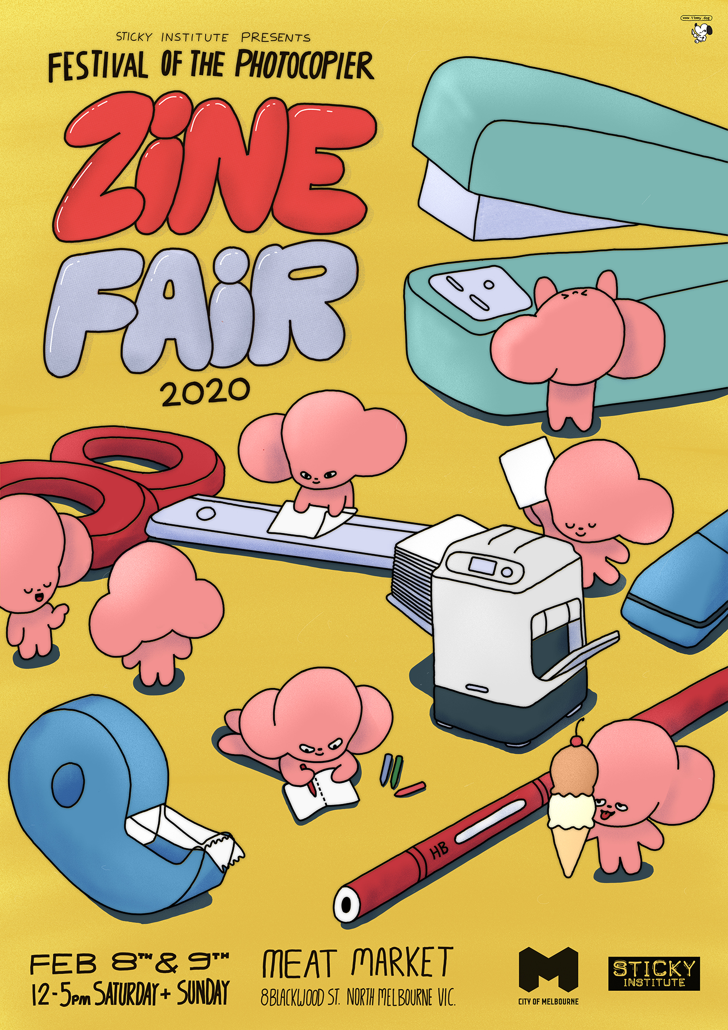 Illustrated poster for the Festival of the Photocopier Zine Fair 202, featuring cute pink rabbit-looking creatures doing a range of activities, including writing, stapling, folding zines etc