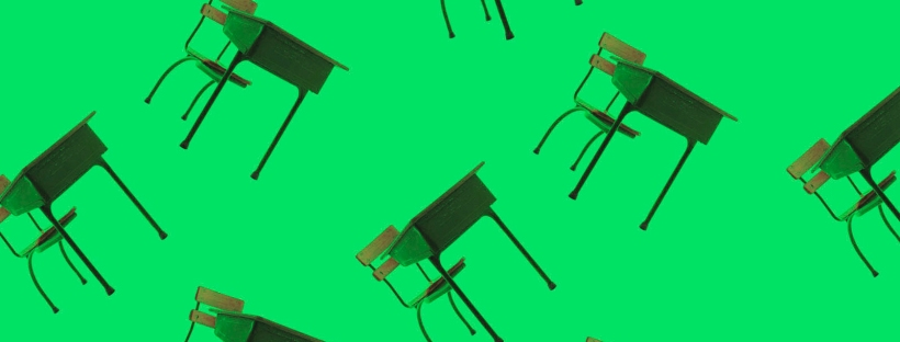 Green image of many school desks and chairs floating