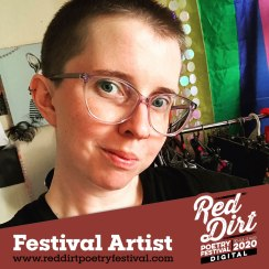 photo of a white person with short hair and big glasses with the text 'Red Dirt Poetry Festival Ar