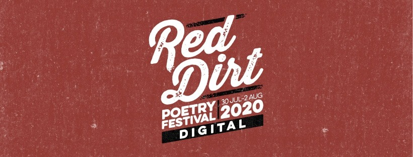 The text 'Red Dirt Poetry Festival Digital 2020' over the top of a red background