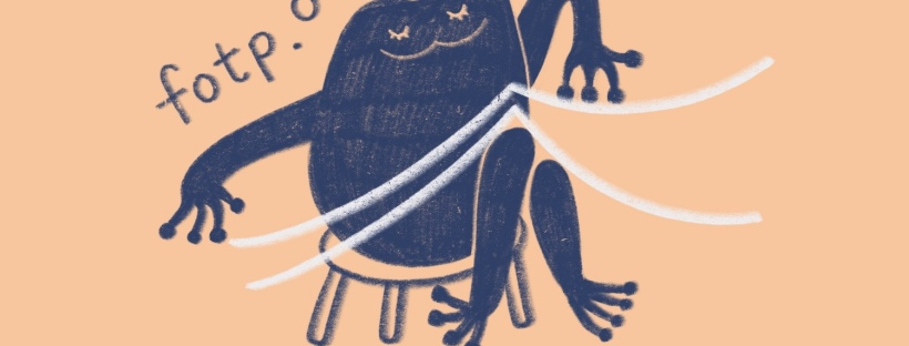 Artistic sketch of a blue frog sitting on a chair with paper balanced on their knees, a pair of scissors and twine lay at their feet. The text fotp.online floats above their shoulder and head.