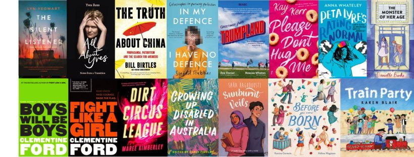 Rectangular image featuring an array of colourful book covers